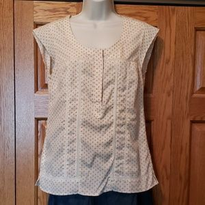 Eddie Bauer cream blouse with cap sleeves, lace